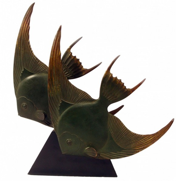 George Lavroff, Angelfish | Rare Art Deco bronze, c. 1928